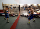 Professional Lightweight boxer Nestor Bravo with a record of 15-0 shadow boxes in front of the mirror in the boxing gym at the German Rieckehoff Sampayo Carolina Sports School on November 13, 2018 in Carolina, Puerto Rico.