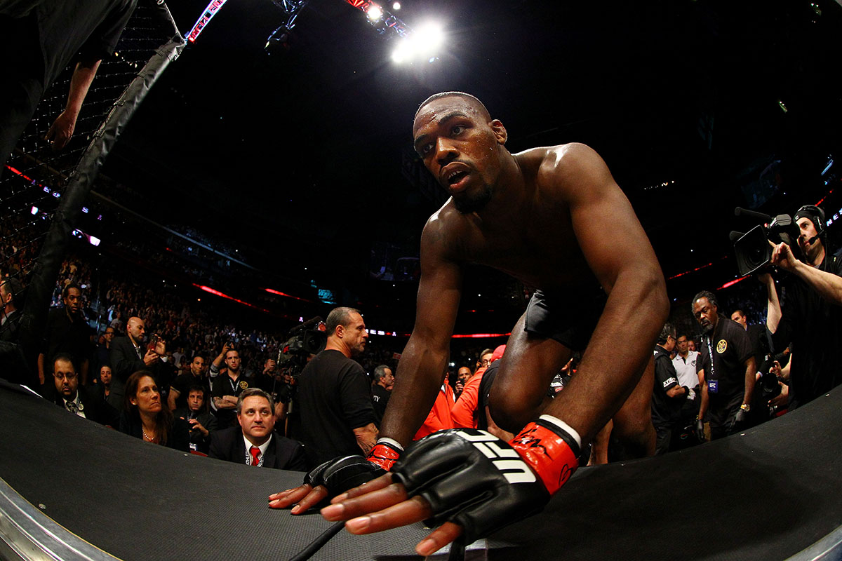 Jon Jones enters the octagon before fighting against Chael Sonnen in their light heavyweight championship bout during the UFC 159 event at the Prudential Center on April 27, 2013 in Newark, New Jersey.