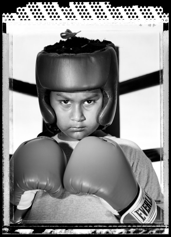 Nicholas Cristian poses at Ardan's Sweet Science gym on July 1, 2005  in Brooklyn, New York. He is nine years old at the time of this photo and has had no amateur fight as of yet.