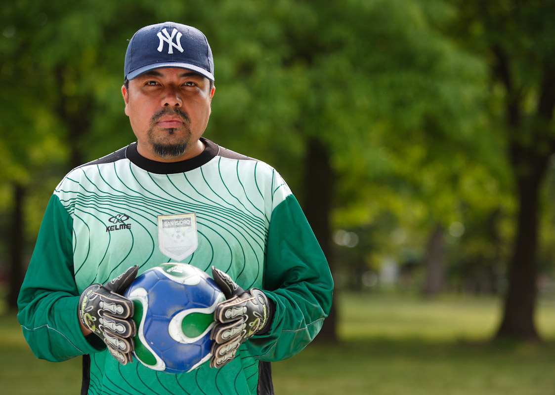 Sandro Garcia of Pueblo, Mexico now living in Corona, Queens, poses for a portrait.  Competitors participate in the Fedeiguayas Soccer League on May 27, 2007 at Flushing Meadows Park in Queens, New York.