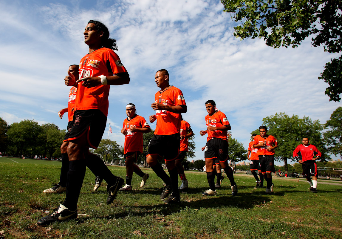 Competitors warm up in the Fedeiguayas Soccer League on August 26, 2007 at Flushing Meadows Park in Queens, NY.