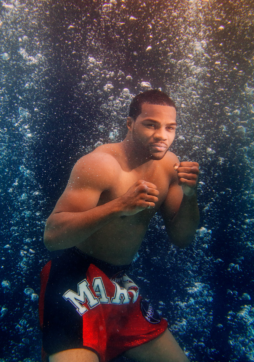 Light Heavyweight boxer Marcus Browne poses for an underwater portrait on August 19, 2014 in Old Bethpage, New York.