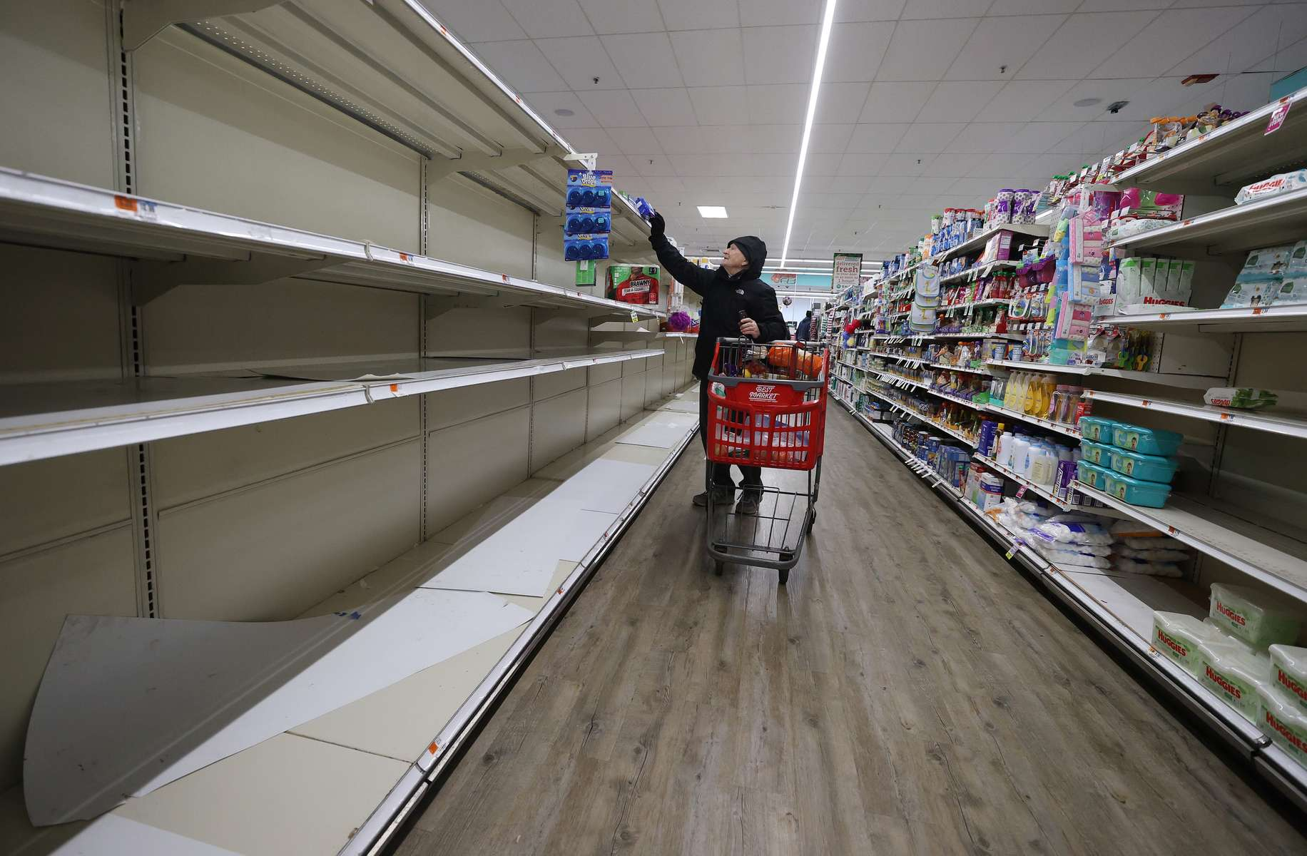 As the coronavirus continues to spread across the United States, stores like Best Market had problems keeping up with the high demand for paper goods leading to empty shelves on March 17, 2020 in Merrick, New York. The World Health Organization declared coronavirus (COVID-19) a global pandemic on March 11th.