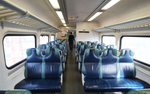 A view of an empty car on the Long Island Railroad on March 18, 2020 in Merrick, New York. The World Health Organization declared coronavirus (COVID-19) a global pandemic on March 11th.