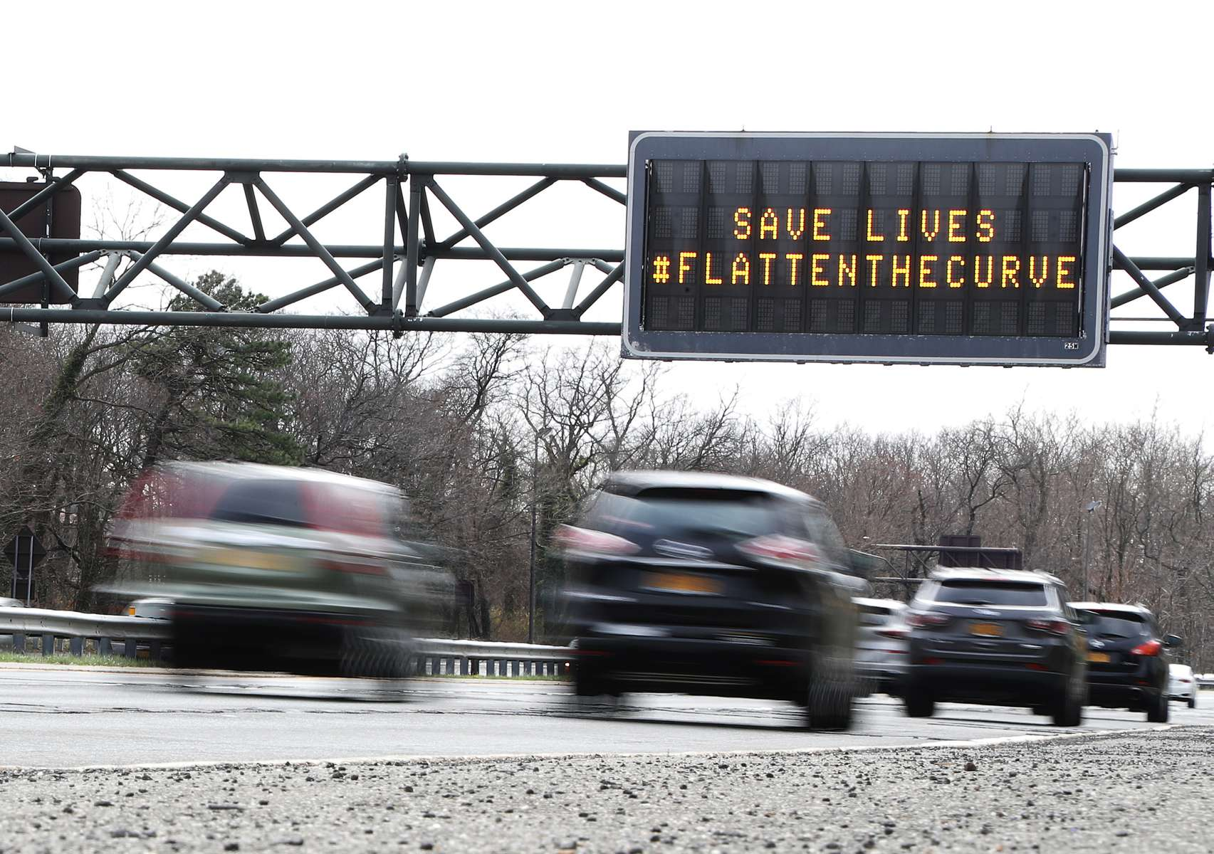 A digital sign is shown on the Wantagh Parkway that reads  {quote}Save Lives #Flatten The Curve{quote}  on March 19, 2020 in Wantagh, New York.  The World Health Organization declared coronavirus (COVID-19) a global pandemic on March 11th.