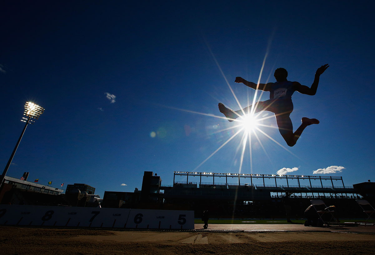 Tyrone Smith of Bermuda competes in the Men's Long Jump final at the Pan Am Games  on July 22, 2015 in Toronto, Canada.