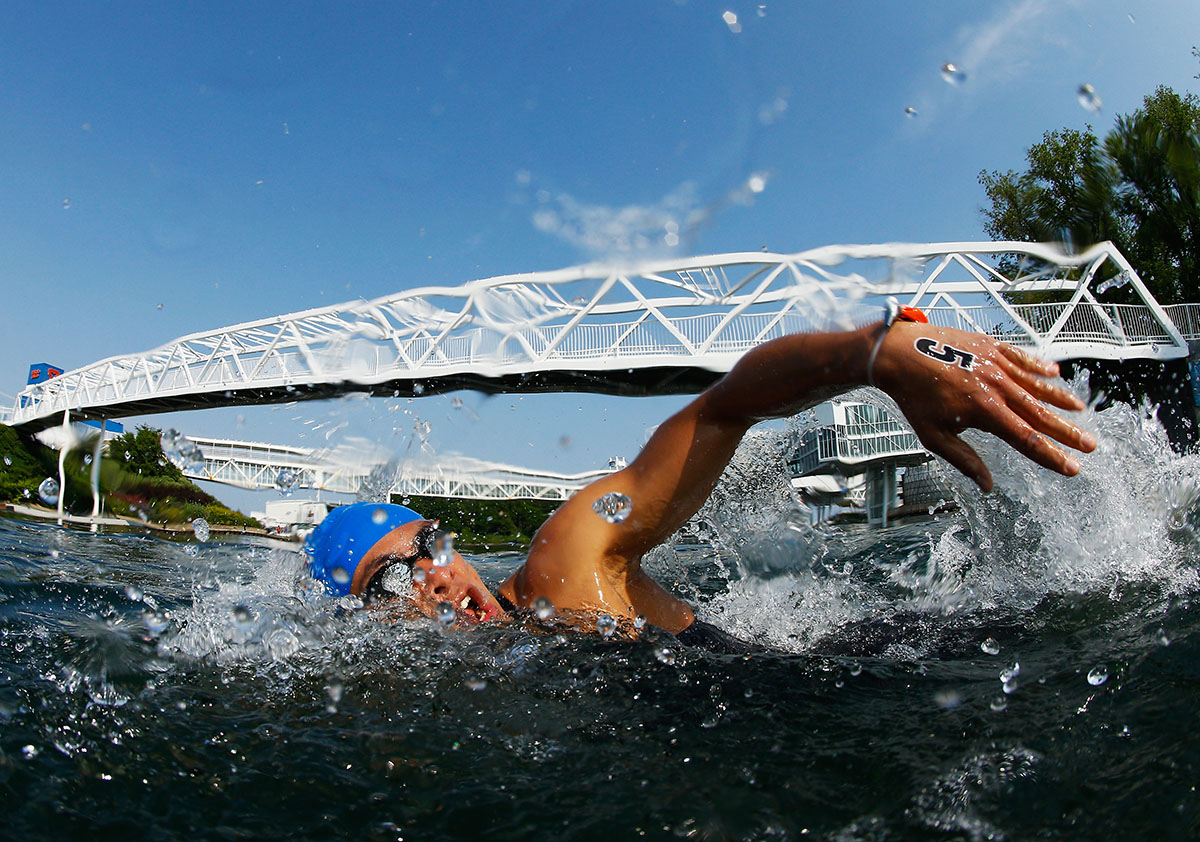 Rodolfo Perez Sanchez of Costa Rica swims during the Men's 10k Open Water race on July 12, 2015 in Toronto, Canada.