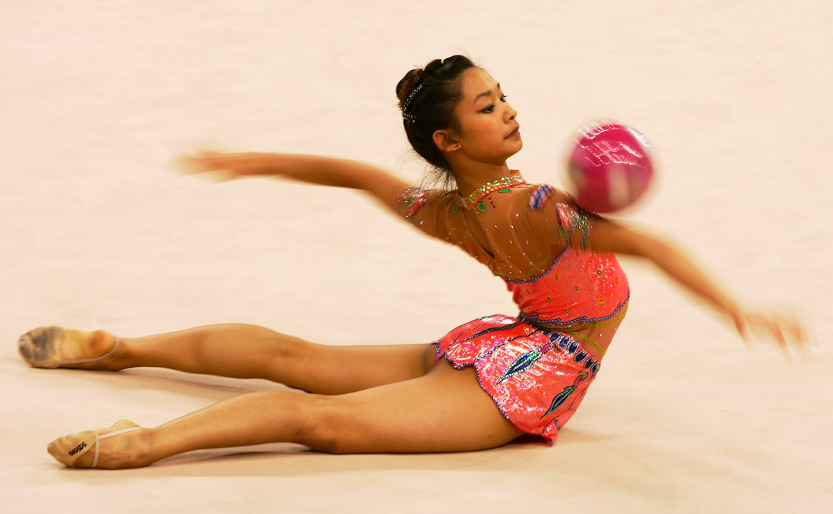 Tharatip Sridee of Thailand performs during the Women's Rhythmic Gymnastics Qualifying round during the 15th Asian Games Doha 2006 at the Aspire hall, December 9, 2006 in Doha, Qatar.