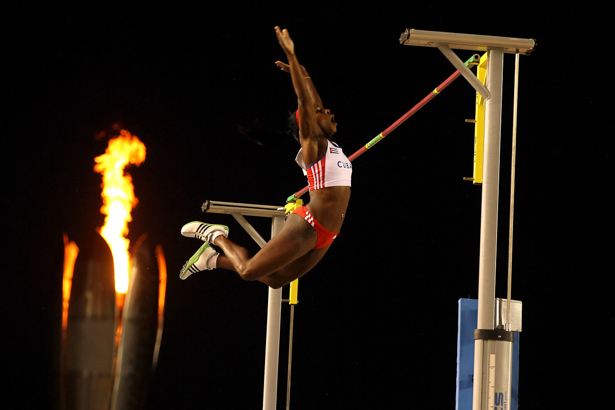 Yarisley Silva of Cuba competes in the women's pole vault final during Day 10 of the XVI Pan American Games at Telcel Athletics Stadium on October 24, 2011 in Guadalajara, Mexico.