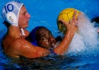 Richard Wall #10 of South Africa battles Ivan Perez #11 of Spain for the ball during Spain's 13-3 win during the World Swimming Championships at Challenge Stadium on July 9, 1998 in Perth, Australia