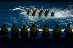 The judges watch as the team from Italy performs in the Free Routine Final at the synchronized swimming event during the XII FINA World Championships at the Rod Laver Arena on March 24, 2007 in Melbourne, Australia.