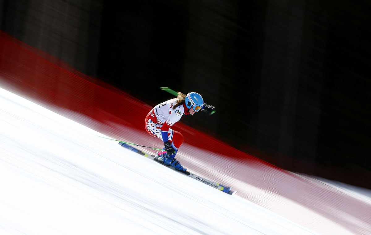 Erla Asgeirsdottir of Iceland races during the Ladies' Giant Slalom on the Raptor racecourse on Day 11 of the 2015 FIS Alpine World Ski Championships on February 12, 2015 in Beaver Creek, Colorado.