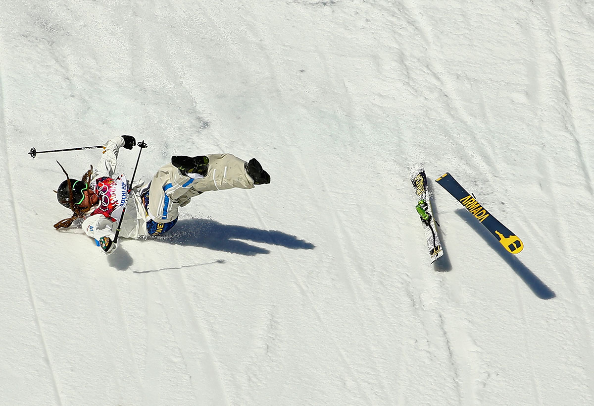 Henrik Harlaut of Sweden falls while competing in the Freestyle Skiing Men's Ski Slopestyle Qualification during day six of the Sochi 2014 Winter Olympics at Rosa Khutor Extreme Park on February 13, 2014 in Sochi, Russia.