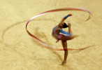 Andreina Acevedo of Venezuela performs With her Ribbon at the Rhythmic Gymnastic finals during Day Four of the XVI Pan American Games at the Nissan Gymnastics Complex on October 18, 2011 in Guadalajara, Mexico.