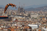 Jeinkler Aguirre of Cuba competes during the Men's 10m Platform Diving final on day nine of the 15th FINA World Championships at Piscina Municipal de Montjuic on July 28, 2013 in Barcelona, Spain.