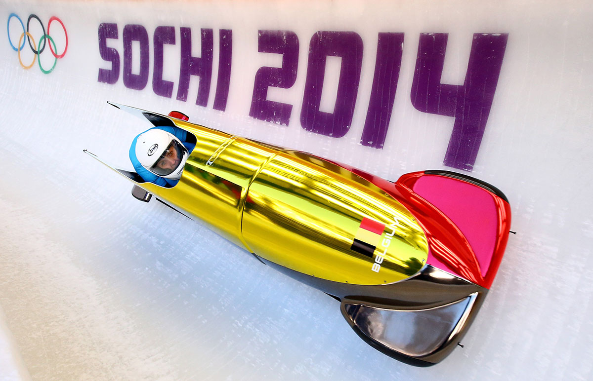 Elfje Willemsen and Hanna Emilie Marien of Belgium practice a bobsleigh run ahead of the Sochi 2014 Winter Olympics at the Sanki Sliding Center on February 5, 2014 in Sochi, Russia.