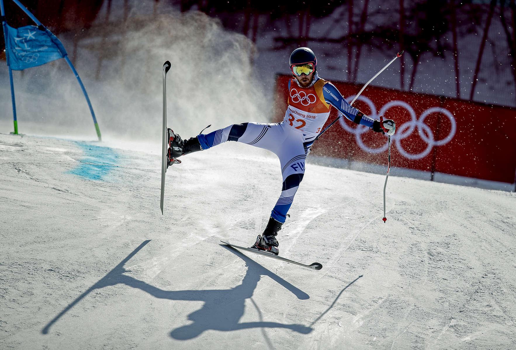 Samu Torsti of Finland crashes during the Alpine Skiing Men's Giant Slalom on day nine of the PyeongChang 2018 Winter Olympic Games at Yongpyong Alpine Centre on February 18, 2018 in Pyeongchang-gun, South Korea.