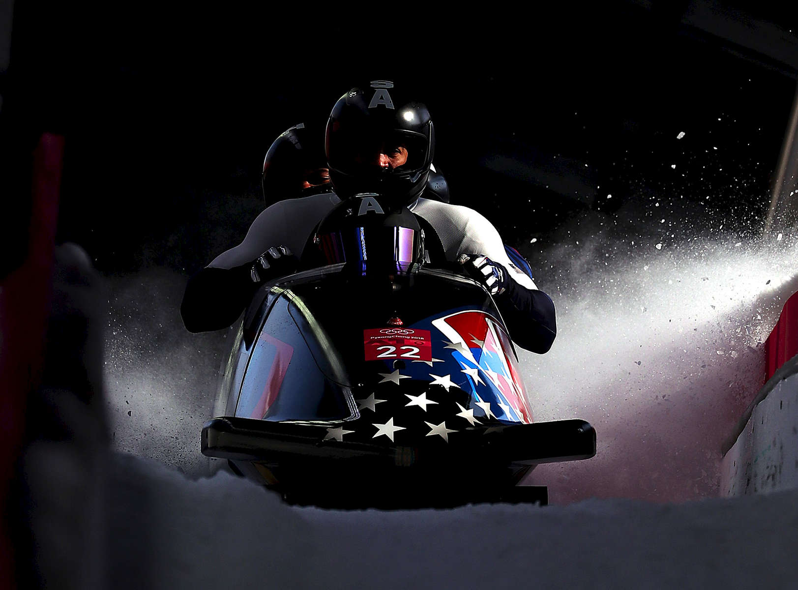 Nick Cunningham, Hakeem Abdul-Saboor, Christopher Kinney and Samuel Michener of the United States finish their run during the 4-man Boblseigh Heats on day sixteen of the PyeongChang 2018 Winter Olympic Games at Olympic Sliding Centre on February 25, 2018 in Pyeongchang-gun, South Korea.