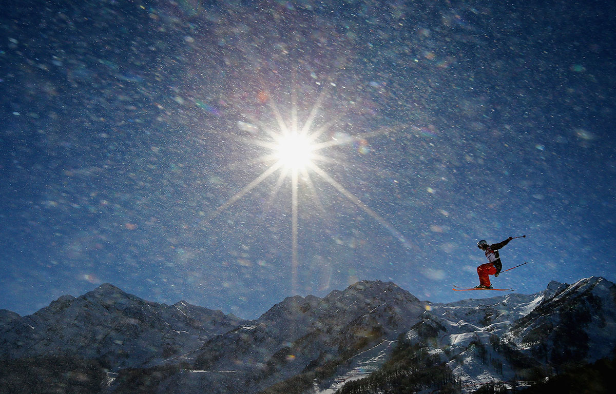 A rider practices during training for Ski Slopestyle at the Extreme Park at Rosa Khutor Mountain ahead of the Sochi 2014 Winter Olympics on February 3, 2014 in Sochi, Russia.