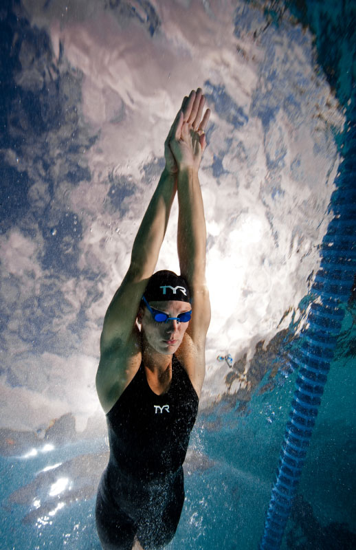 USA Olympian Amanda Weir swims at the Bolles Swim Club on April 12, 2010 in Jacksonville, Florida
