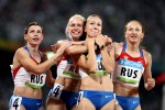 The Russian Women's Relay team celebrate after their victory in the Women's 4 x 100m Relay Final at the National Stadium on Day 14 of the Beijing 2008 Olympic Games on August 22, 2008 in Beijing, China.