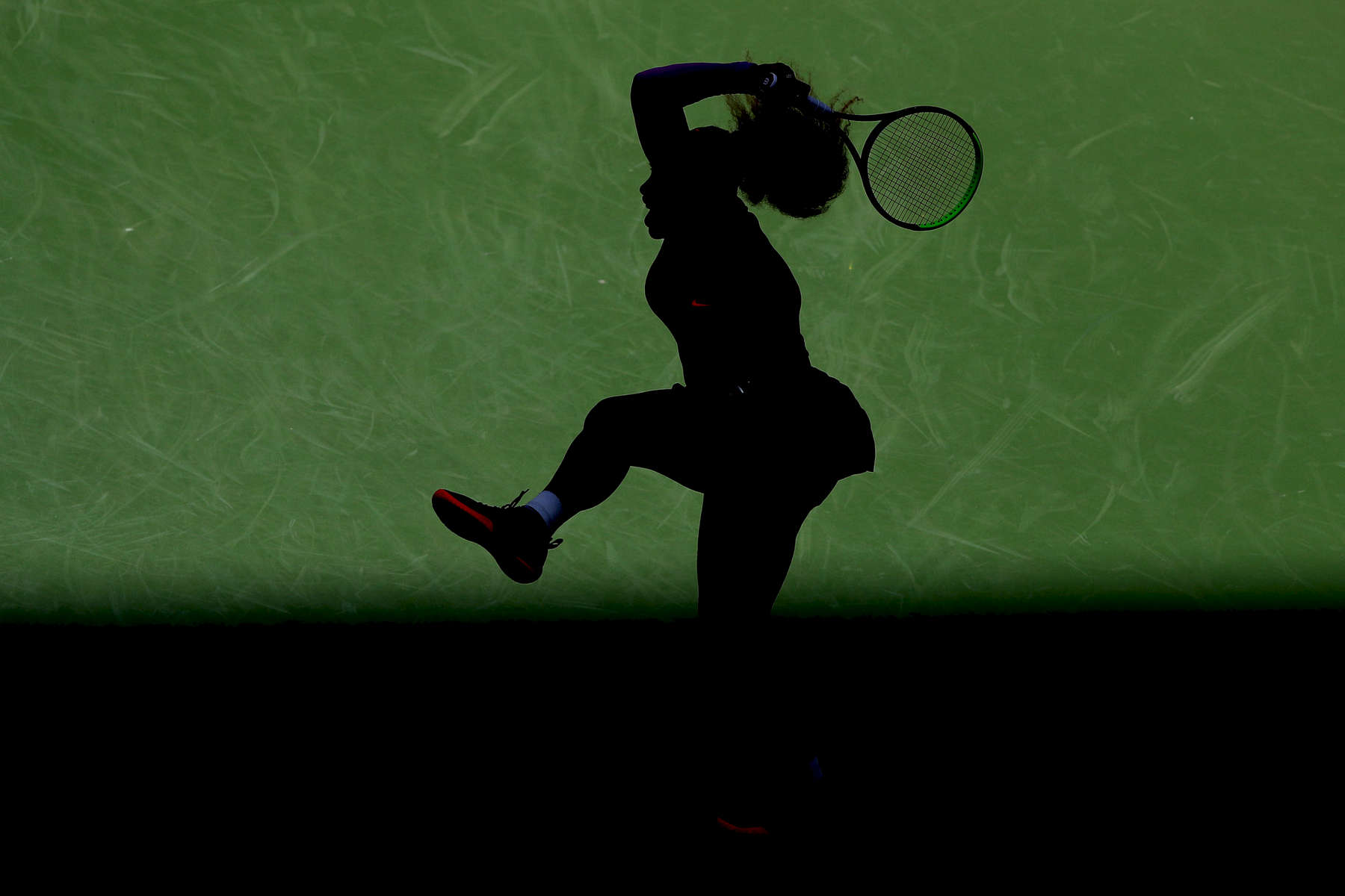 Serena Williams of the United States returns a shot during of her Women's Singles round three match against Karolina Muchova of the Czech Republic on day five of the 2019 US Open at the USTA Billie Jean King National Tennis Center on August 30, 2019 in Queens borough of New York City.