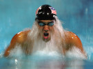 Michael Phelps of USA competes in the men's swimming 200 metre individual medley final on August 19, 2004 during the Athens 2004 Summer Olympic Games at the Main Pool of the Olympic Sports Complex Aquatic Centre in Athens, Greece.