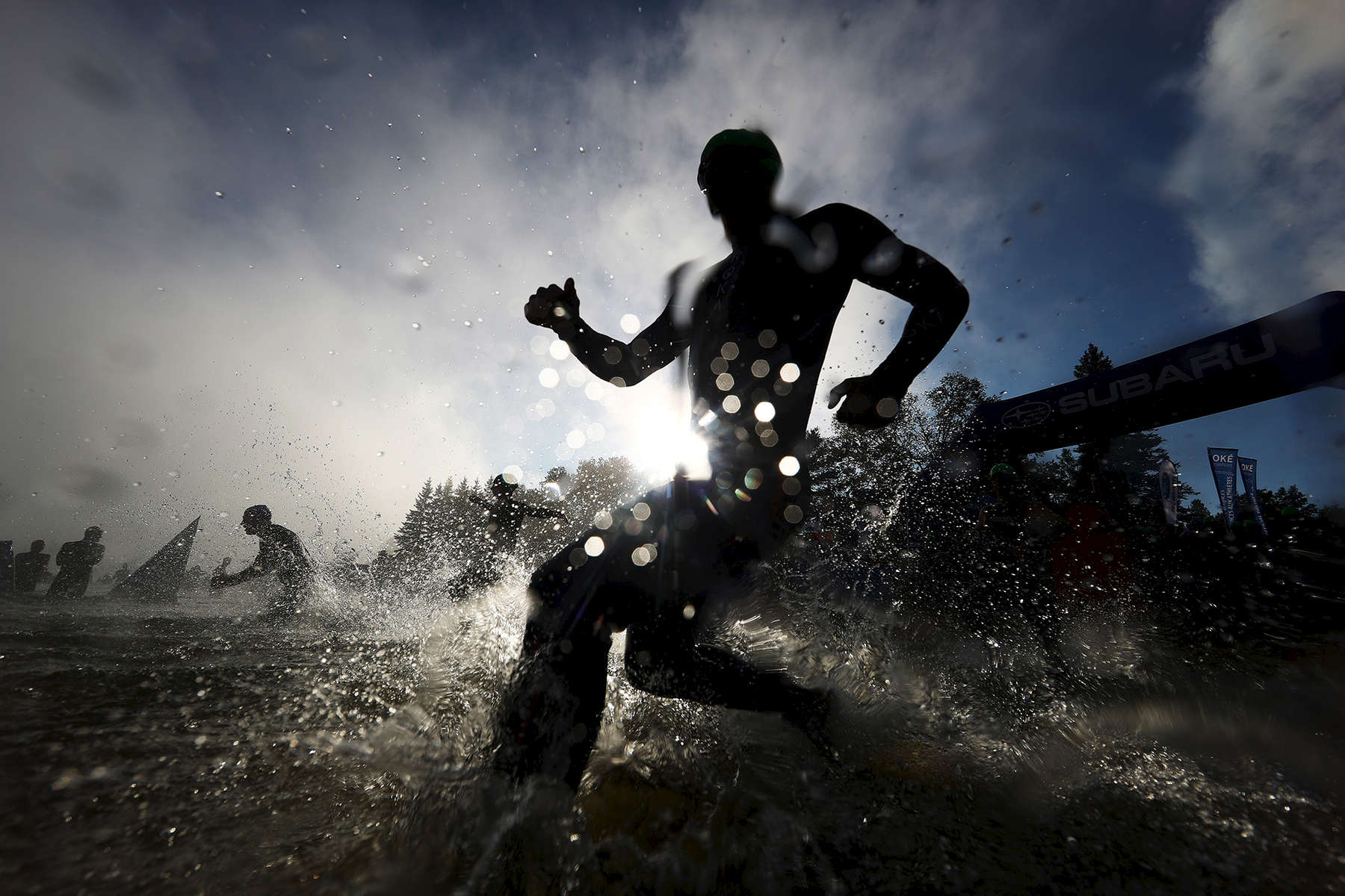 Competitors start during the Ironman Mont-Tremblant on August 19, 2018 in Mont Tremblant, Canada.