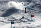 A forerunner crashes prior to the Alpine Skiing Men's Giant Slalom on day nine of the PyeongChang 2018 Winter Olympic Games at Yongpyong Alpine Centre on February 18, 2018 in Pyeongchang-gun, South Korea.