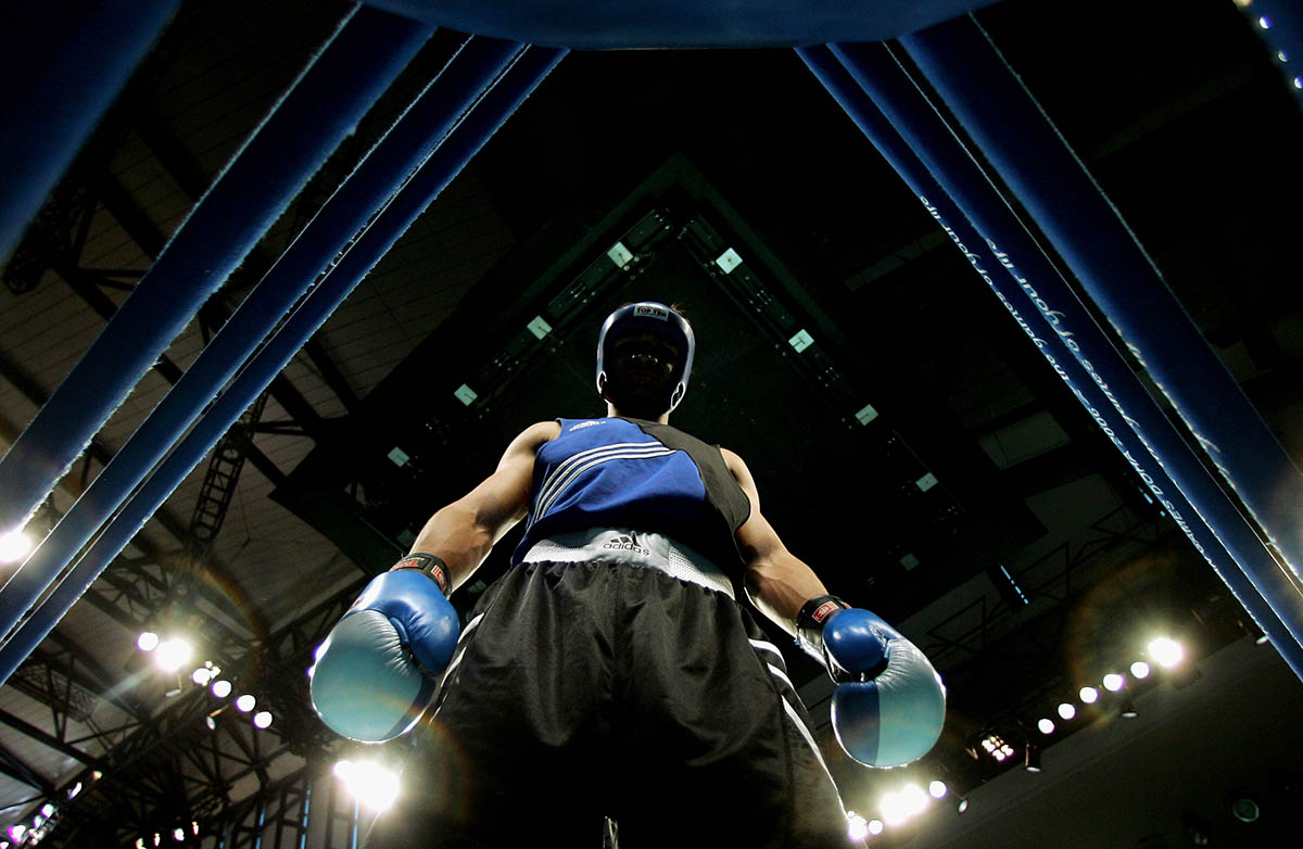 Djakhon Kurbanov of Tajikistan looks down prior to the Men's Light Heavy -81Kg Final Bout at the 15th Asian Games Doha 2006 at the Aspire Hall on December 13, 2006 in Doha, Qatar.  Djakhon Kurbanov of Tajikistan went on to win the Gold.