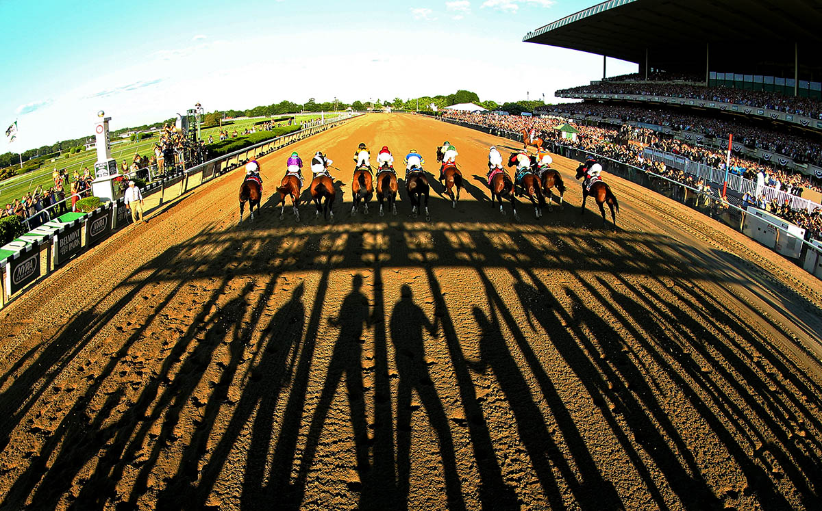 The field starts the 146th running of the Belmont Stakes at Belmont Park on June 7, 2014 in Elmont, New York.