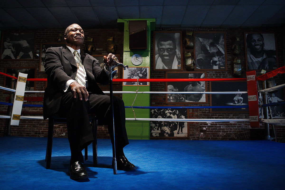 Joe Frazier, Former Heavyweight Champion of the world  poses for a portrait on March 18, 2009 at his boxing gym in  Philadelphia, Pennsylvania.