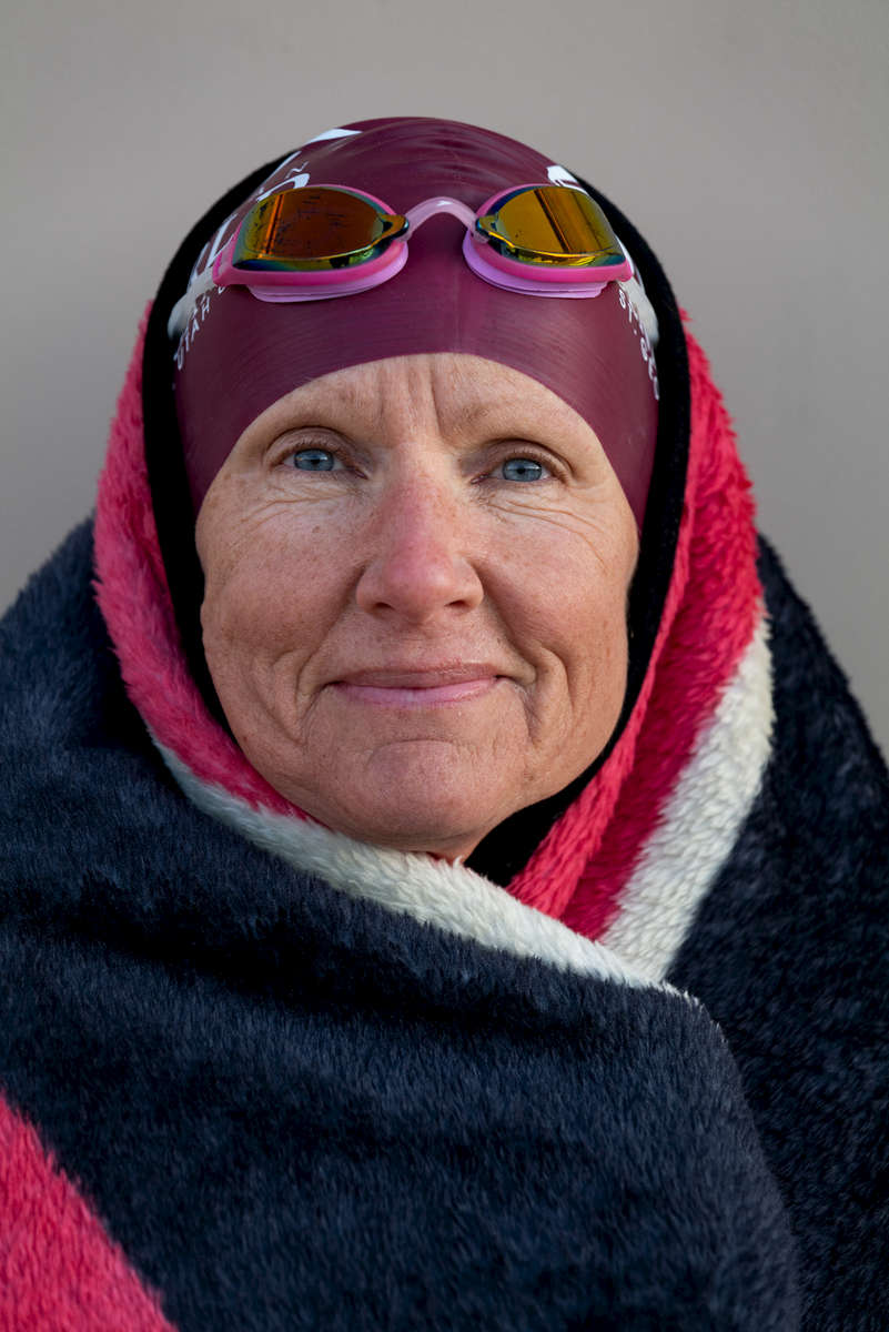 Senior triathlete Jeannine Hale aged sixty three poses for a portrait during the Huntsman World Senior Games on October 12, 2019 in St. George, Utah.