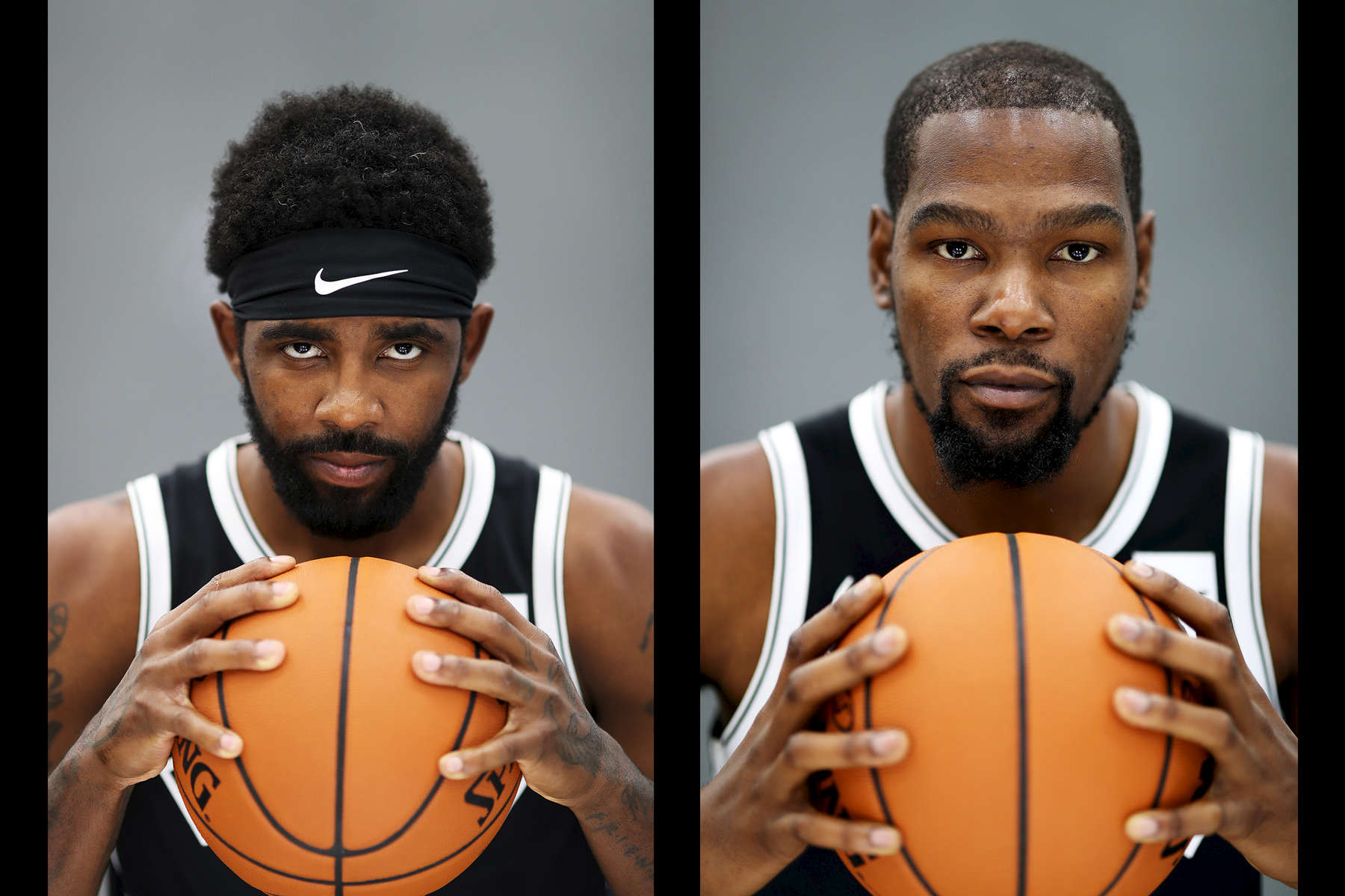 Kyrie Irving and Kevin Durant of the Brooklyn Nets pose for a portrait during Media Day at HSS Training Center on September 27, 2019 in New York City.