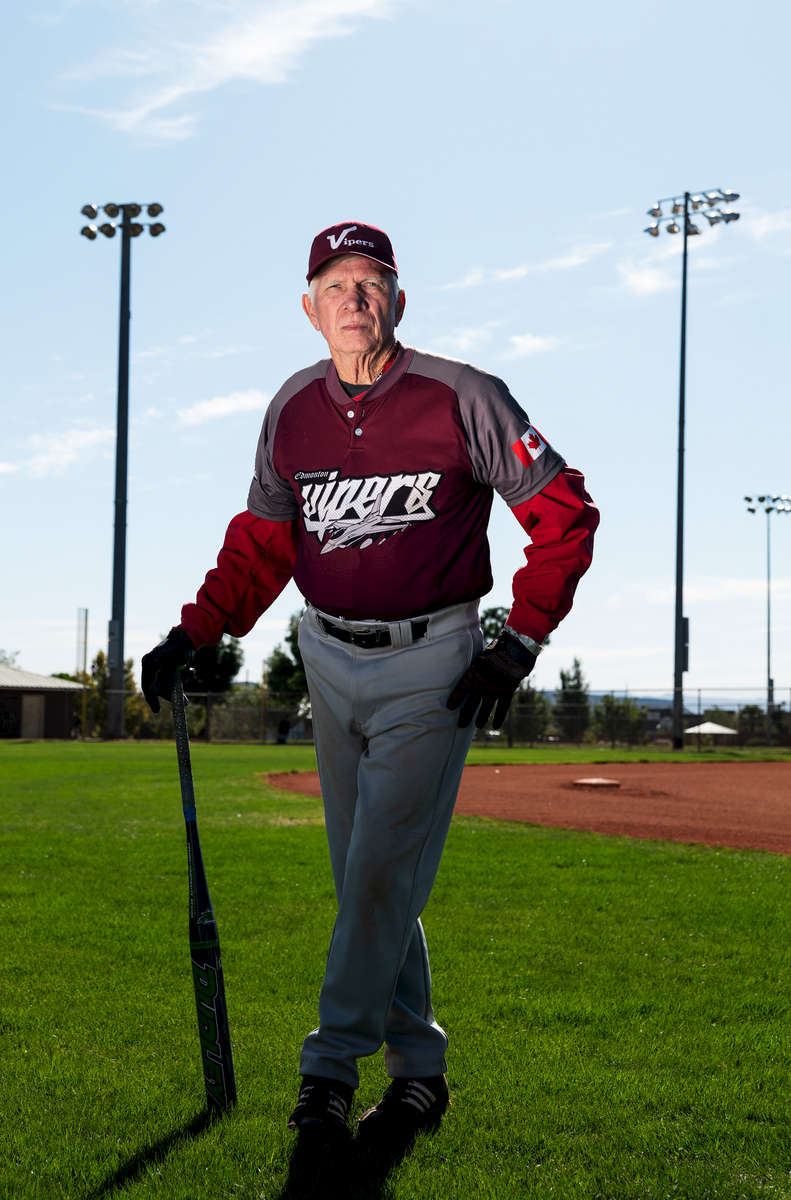 Senior Softball player Rick Dipre aged seventy two, poses for a portrait during the Huntsman World Senior Games on October 11, 2019 in St. George, Utah.