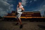 Middleweight Boxing Champion Kelly Pavlik poses in front of a Locomotive Train on July 16, 2007 in Youngstown, Ohio.