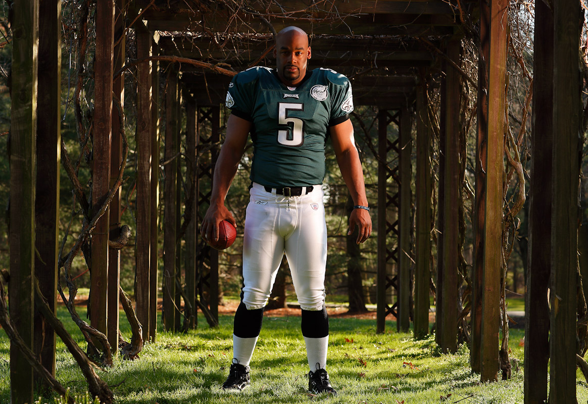 Donovan McNabb, Quarterback of The Philadelphia Eagles  poses for a portrait on April 2, 2008 at his home in Moorestown, New Jersey.