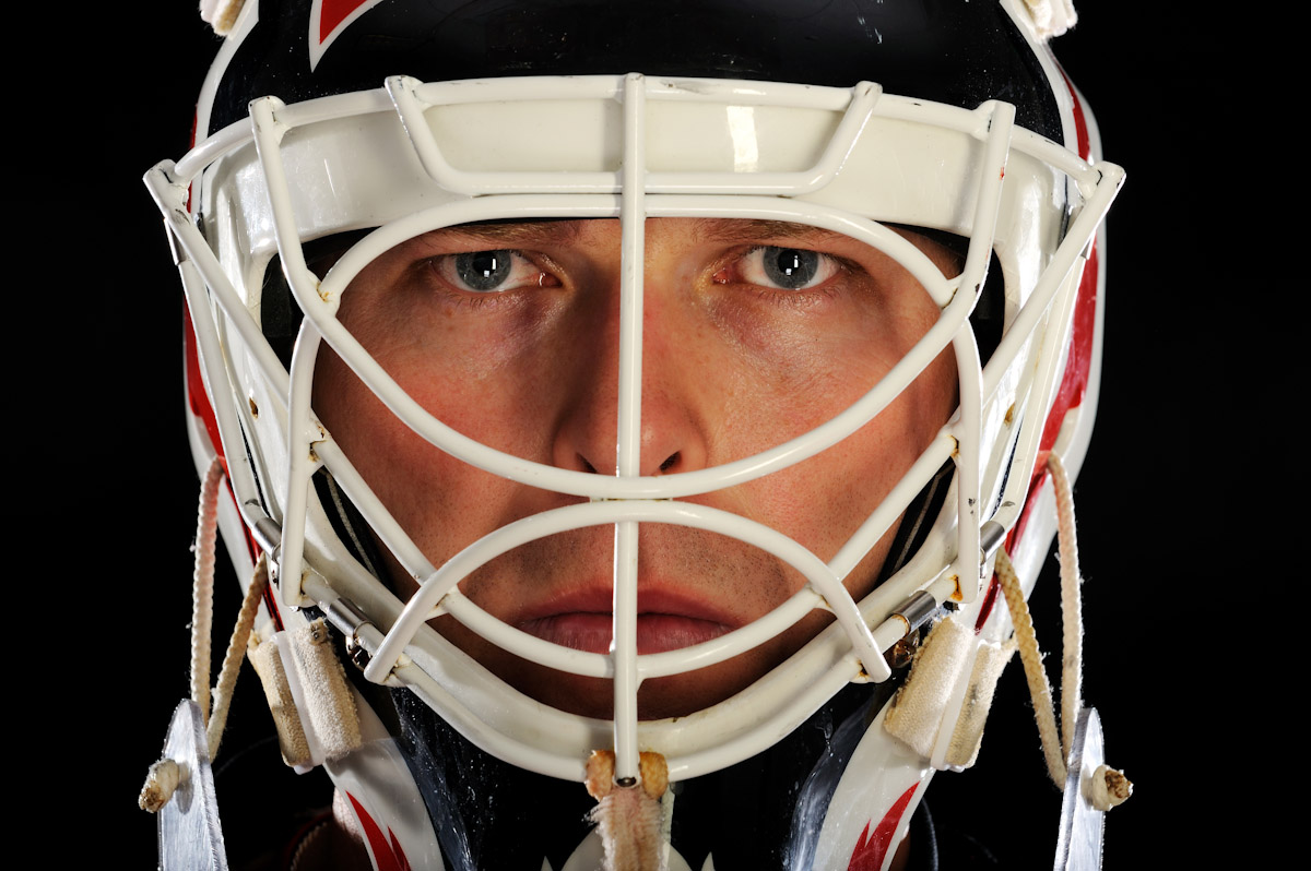 New Jersey Devils Goalie Martin Brodeur, Three time Stanley cup Champion, Olympic Gold Medalist, and winningest goalie in NHL history poses for a portrait on October 2, 2008 at The Prudential Center in Newark, New Jersey.