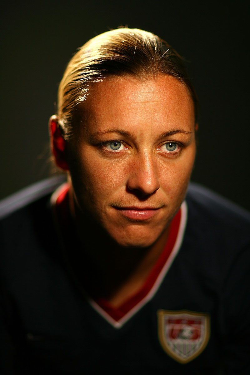 Olympic and World Cup Soccer champion Abby Wambach poses for a portrait during the 2008 U.S. Olympic Team Media Summitt at the Palmer House Hilton on April 14, 2008 in Chicago, Illinois.  (Photo by Al Bello/Getty Images) *** Local Caption *** Abby Wambach
