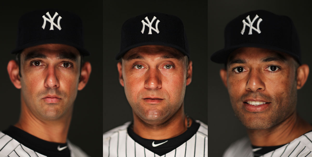 Jorge Posada #20, Derek Jeter#2, And Mariano Rivera #42, of the New York Yankees pose for a portrait on Photo Day at George M. Steinbrenner Field on February 23, 2011 in Tampa, Florida. Each player has won 5 World Series Championships playing for the Yankees.