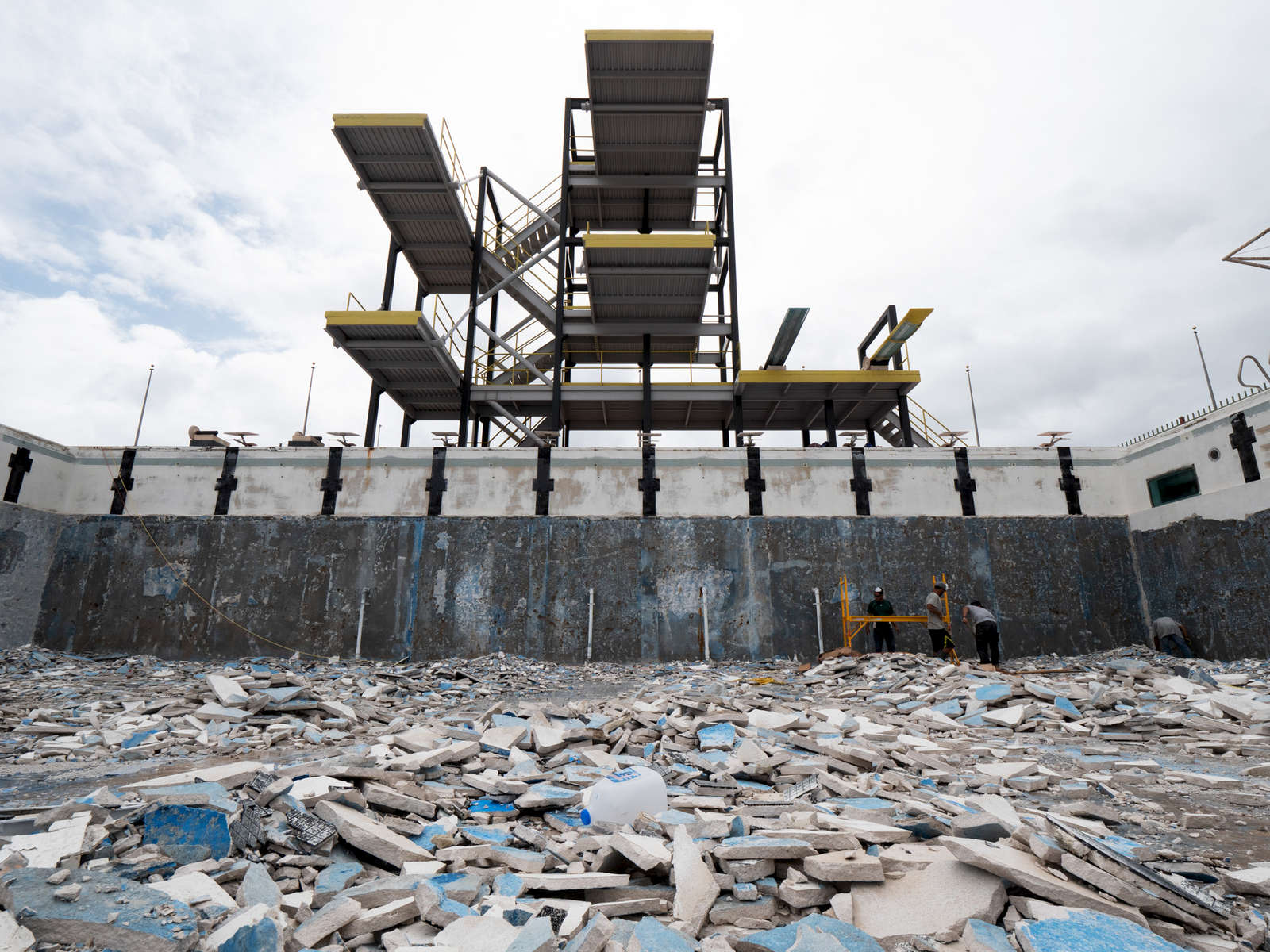 SALINAS, PUERTO RICO - NOVEMBER 14:  The swimming and diving pool are shown in the Aquatic Center at the Albergue Olympic Training Center of  Puerto Rico on November 14, 2018 in Salinas, Puerto Rico. The Aquatic Center was heavily damaged from Hurricane Maria.  The pool remains under construction and is scheduled to be rebuilt.  The effort continues in Puerto Rico to remain and rebuild more than one year after the Hurricane Maria hit and devastated the island on September 20, 2017. The official number of deaths from the disaster is 2,975.