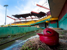 CAROLINA, PUERTO RICO - NOVEMBER 13:  A remaining batting helmet sits on the field at the Roberto Clemente Municipal Stadium on November 13, 2018 in Carolina, Puerto Rico. The ballpark was once used for minor league AA baseball.  The stadium is set to be demolished due to the extended damage it sustained from Hurricane Maria.  The effort continues in Puerto Rico to remain and rebuild more than one year after the Hurricane Maria hit and devastated the island on September 20, 2017. The official number of deaths from the disaster is 2,975.