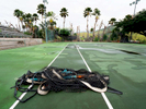 SALINAS, PUERTO RICO - NOVEMBER 14:  The Tennis court is shown at the Albergue Olympic Training Center of  Puerto Rico on November 14, 2018 in Salinas, Puerto Rico.  The Tennis courts were all damaged by Hurricane Maria and they are slowly being rebuilt.  The effort continues in Puerto Rico to remain and rebuild more than one year after the Hurricane Maria hit and devastated the island on September 20, 2017. The official number of deaths from the disaster is 2,975.
