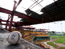 CAROLINA, PUERTO RICO - NOVEMBER 13:  A baseball sits in the stands at the Roberto Clemente Municipal Stadium on November 13, 2018 in Carolina, Puerto Rico. The ballpark was once used for minor league AA baseball.  The stadium is set to be demolished due to the extended damage it sustained from Hurricane Maria.  The effort continues in Puerto Rico to remain and rebuild more than one year after the Hurricane Maria hit and devastated the island on September 20, 2017. The official number of deaths from the disaster is 2,975.