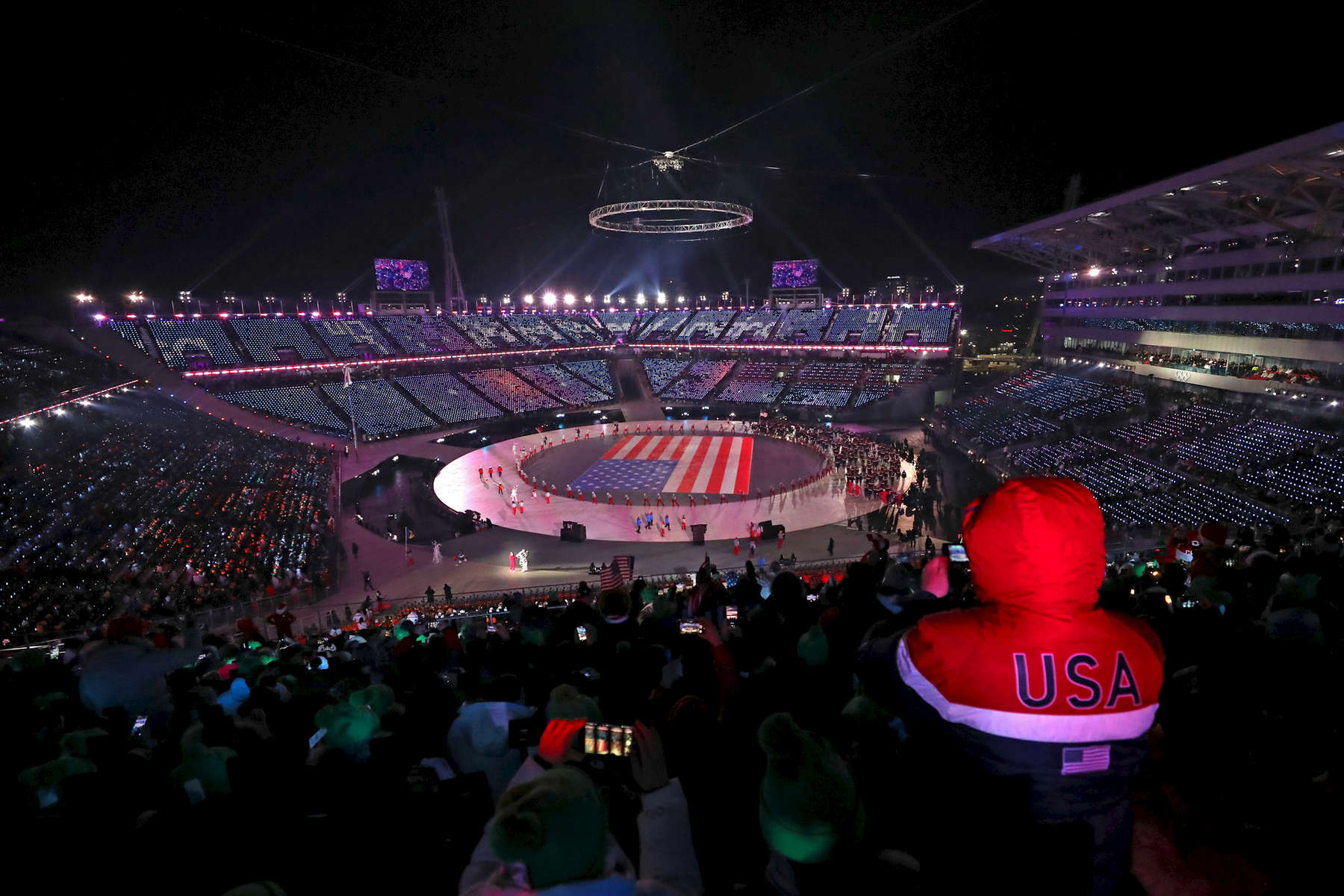 A general view as Flag bearer Erin Hamlin of the United States and teammates enter the stadium during the Opening Ceremony of the PyeongChang 2018 Winter Olympic Games at PyeongChang Olympic Stadium on February 9, 2018 in Pyeongchang-gun, South Korea.  (