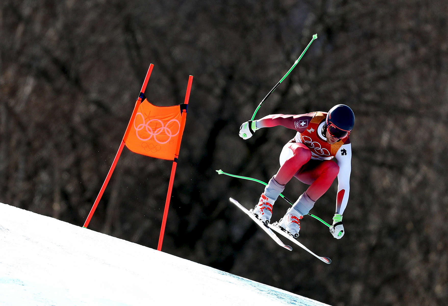 Marc Gisin of Switzerland makes a run during the Men's Downhill on day six of the PyeongChang 2018 Winter Olympic Games at Jeongseon Alpine Centre on February 15, 2018 in Pyeongchang-gun, South Korea.