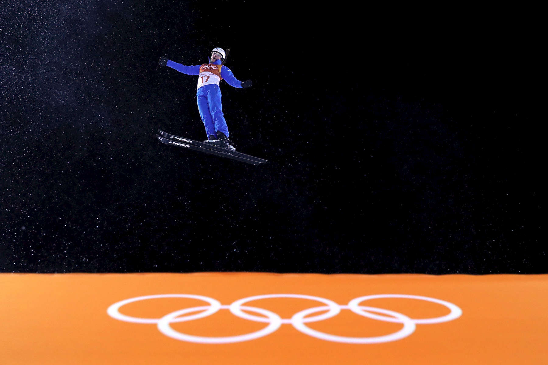 Madison Olsen of the United States warms up ahead of the Freestyle Skiing Ladies' Aerials Final on day seven of the PyeongChang 2018 Winter Olympic Games at Phoenix Snow Park on February 16, 2018 in Pyeongchang-gun, South Korea.