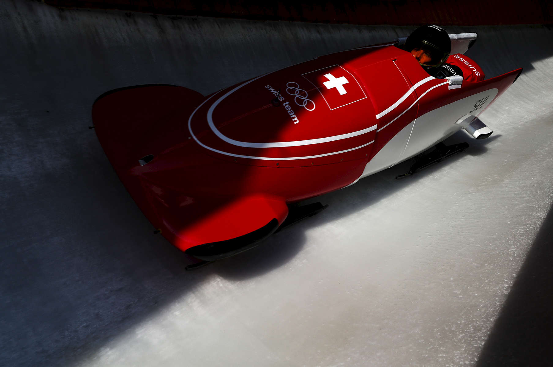Sabina Hafner of Switzerland in action during Bobsleigh practice ahead of the PyeongChang 2018 Winter Olympic Games at Olympic Sliding Centre on February 8, 2018 in Pyeongchang-gun, South Korea.