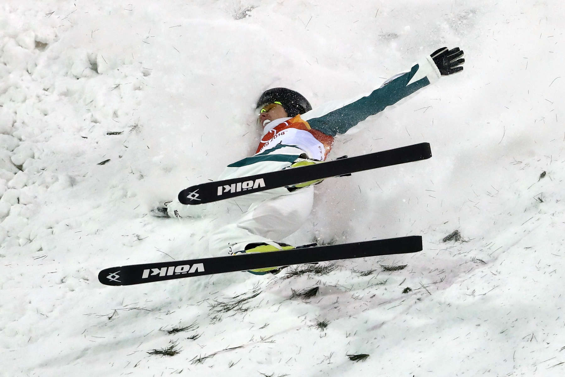 Laura Peel of Australia crashes during the Freestyle Skiing Ladies' Aerials Final on day seven of the PyeongChang 2018 Winter Olympic Games at Phoenix Snow Park on February 16, 2018 in Pyeongchang-gun, South Korea.