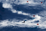 A forerunner makes a run prior to the Alpine Skiing Men's Giant Slalom on day nine of the PyeongChang 2018 Winter Olympic Games at Yongpyong Alpine Centre on February 18, 2018 in Pyeongchang-gun, South Korea.